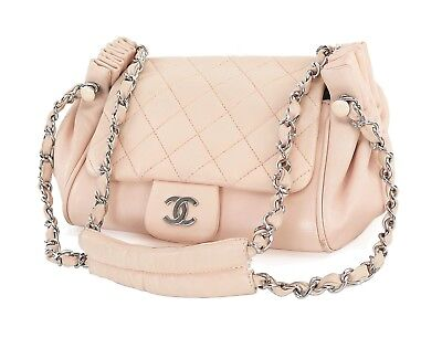 Authentic CHANEL Pink Quilted Leather Chain Shoulder Flap Bag #27476