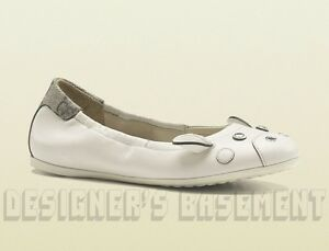 GUCCI-Girls-ivory-Leather-ZOO-BALLERINA-GG-Plus-back-FLATS-shoes-NIB-Authentic