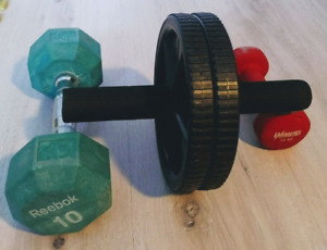 Roue abdominale + 2 poids libres - Ab Wheel and 2 Dumbbells