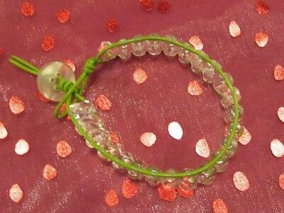 Vintage Button Bracelet Green (Green Bracelet Green Leather and clear glass beads with Vintage Button Bracelet )
