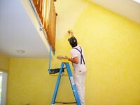 Professional painter in painting decorating services + walls papering