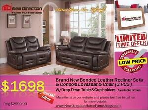 Brand New 3PCS High Grade Bonded Leather Recliner Set@New Direction Home Furnishings