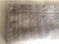 Luxurious John Lewis grey furry bed throw