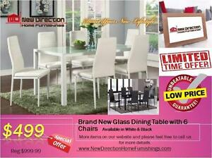 Brand New 7pcs Metal Frame Dining Set W/Glass Top@New Direction Home Furnishings