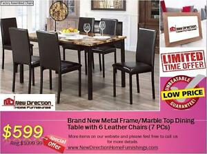 Inventory Blow Out Sale-Brand New 7PCS Metal/Marble Top Dining Set@New Direction Home Furnishings