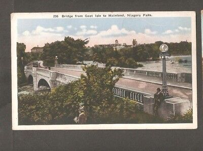 Vtg Postcard Bridge from Goat Isle to Mainland Niagara Falls