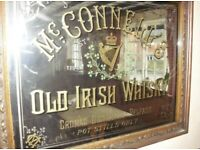 WANTED !! Antique pub mirrors memorabilia enamel signs advertising pieces Irish whisky brewery