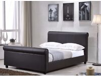 """Brizoni Faux Leather Beds New Double 4.6""""Or King size 5FT Bed Frame Only"""