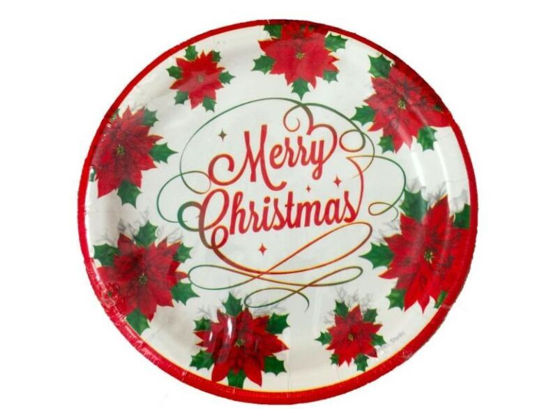Christmas Dinner Plates w/ Merry Christmas and Poinsettias 12 Count