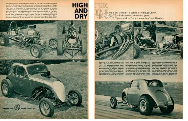 1948 FIAT TOPOLINO DRAG RACING / SONNY & MIKE MARTINI ~ ORIG 2-PAGE ARTICLE / AD