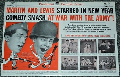 AT WAR WITH THE ARMY 1950 ORIGINAL 12x18 MOVIE TRADE AD! MARTIN & LEWIS COMEDY!