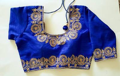 USA  Blue Ready made saree choli blouse embroidered lace work