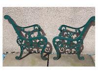 1 x Pair Vintage Cast Iron Garden Bench / Seat end panels