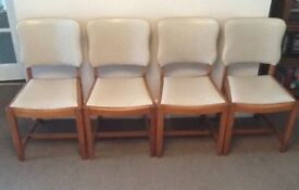 4 GENUINE ART DECO WALNUT DINING CHAIRS WITH BEIGE LEATHERETTE UPHOLSTERY