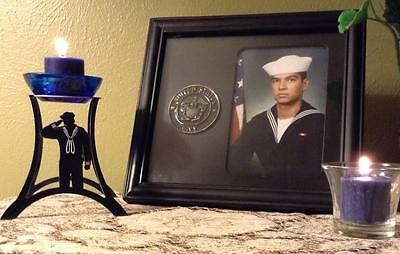 ~ U.S. Navy Dress Blues Sailor Candle ~ To honor your hero and Navy Tradition! ~ - Navy Candles