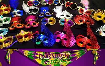 12 Masks - Mardi Gras Masquerade Wedding Party Favor New Year's Wholesale Lot🎉 - Masquerade Mask Favors