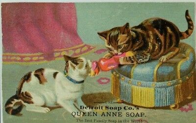 Detroit Soap Co Queen Anne Soap Two Cats Playing With Toy Parlor Scene P80
