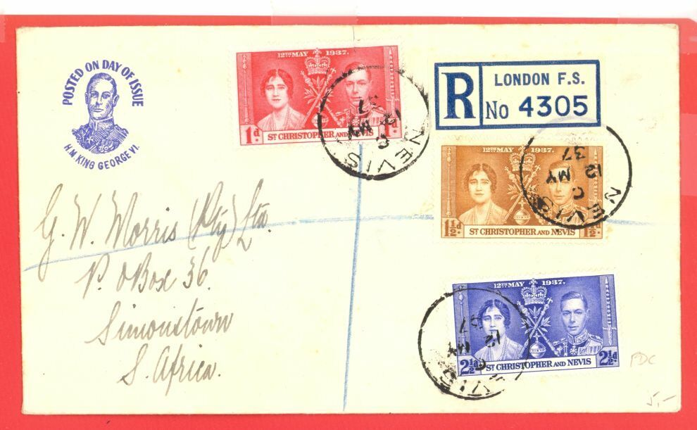 St Christopher 1937 Coronation FDC Cover To South Africa - $5.00