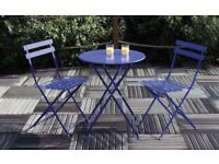 Padstow 2 Seater Folding Bistro Chair Set - Navy Blue
