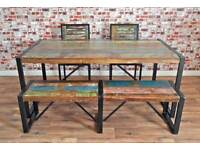 Industrial Rustic Reclaimed Boatwood Dining Sets - Wide Range of Options - Benches Chairs