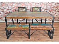 Industrial Reclaimed Boatwood Dining Sets - Tables, Benches & Chairs - Wide Range of Options