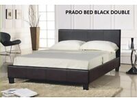 Double Prado leather bed plus mattress, fantastic beds, easy build, sturdy, mattresses, tv beds too