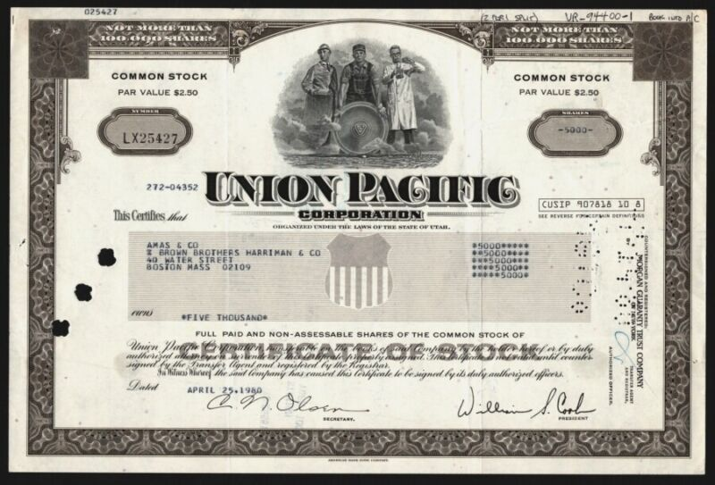 Stock Certificate Union Pacific Corporation Common Not More Than 100,000 Shares
