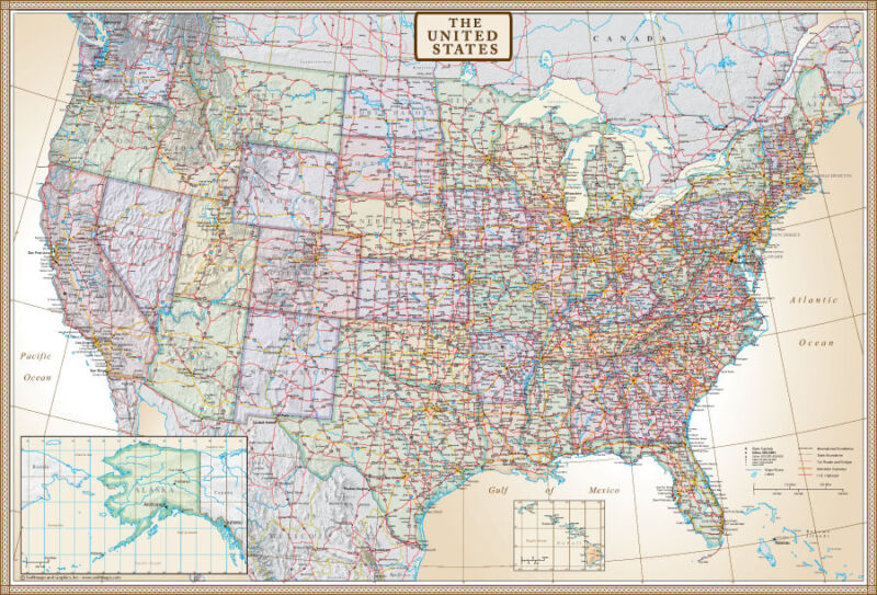"""Swiftmaps United States Map US, USA Wall Map Poster Mural """"Executive Edition"""""""