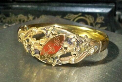 Antique W&SB Gold Filled Hinged Bangle Bracelet Ornate Floral Victorian Floral