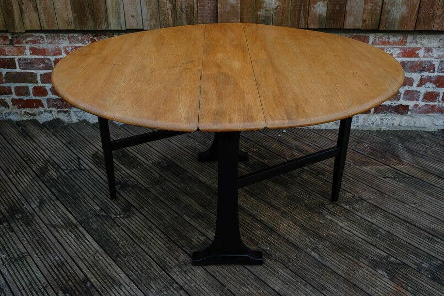 VINTAGE RETRO MID CENTURY DROP LEAF ERCOL DINING TABLE GOLDEN DAWN ELM LARGE GATE LEGGED