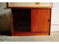 VINTAGE RETRO MID CENTURY HALF GLAZED SHELVED CABINET SHELVES CUPBOARD BOOKCASE STORAGE
