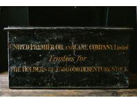 VINTAGE RETRO METAL BLACK ANTIQUE DEED CHEST BOX
