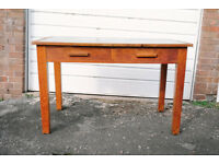 VINTAGE RETRO MID CENTURY LARGE TWO DRAWER OAK UTILITY DESK DINING TABLE
