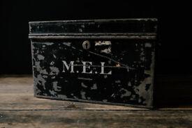 ANTIQUE METAL DEED BOX STORAGE VINTAGE SAFE