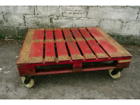 UPCYCLED LARGE INDUSTRIAL PALLET COFFEE TABLE GARDEN TABLE ON CASTERS