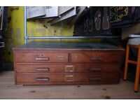 VINTAGE INDUSTRIAL LARGE OAK 4 DRAWER PLAN MAP ARCHITECTS CHEST DRAWERS