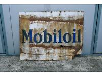 VINTAGE RETRO INDUSTRIAL ENAMEL PORCELAIN ADVERTISING SIGN AUTOMOTIVE MOBILOIL