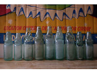 JOB LOT OF VINTAGE CODD MARBLE NECK GLASS ADVERTISING BOTTLES WEDDING DECORATIVE