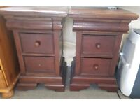 mahogany bedside tables 2x ...hidden drawer.