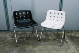 VINTAGE RETRO MID CENTURY PAIR ROBIN DAY HILLE STACKING DINING CHAIRS