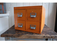 VINTAGE INDUSTRIAL RETRO ORANGE FOUR DRAWER FILING CABINET