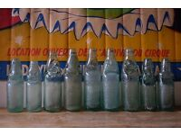 JOB LOT OF VINTAGE COBB MARBLE NECK GLASS ADVERTISING BOTTLES WEDDING DECORATIVE