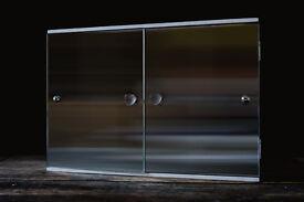 LARGE VINTAGE RETRO BATHROOM CABINET MIRRORED DOORS FUNKY