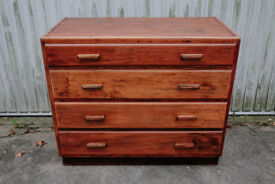 VINTAGE RETRO MID CENTURY UTILITY OAK WOODEN CHEST OF FOUR DRAWERS