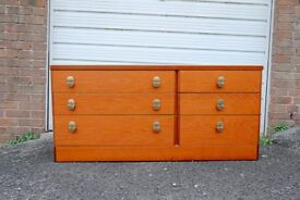 VINTAGE RETRO MID CENTURY STAG NOCTURNE CANTATA TEAK CHEST OF 6 DRAWERS
