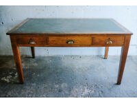 LARGE VINTAGE RETRO OAK 1930s DESK DINING TABLE WITH DRAWERS