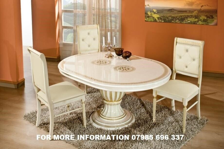 VERSACE DESIGN ROSSELLA ITALIAN DINING TABLE 4 CHAIRS WITH CRYSTAL