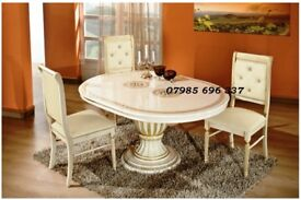 Versace style Rossella Italian Dining Table and Chairs, Hand crafted & High Gloss finish