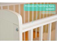 Wooden Baby Cot Bed & Deluxe, Water Repellent Mattress & Converts to Junior Bed