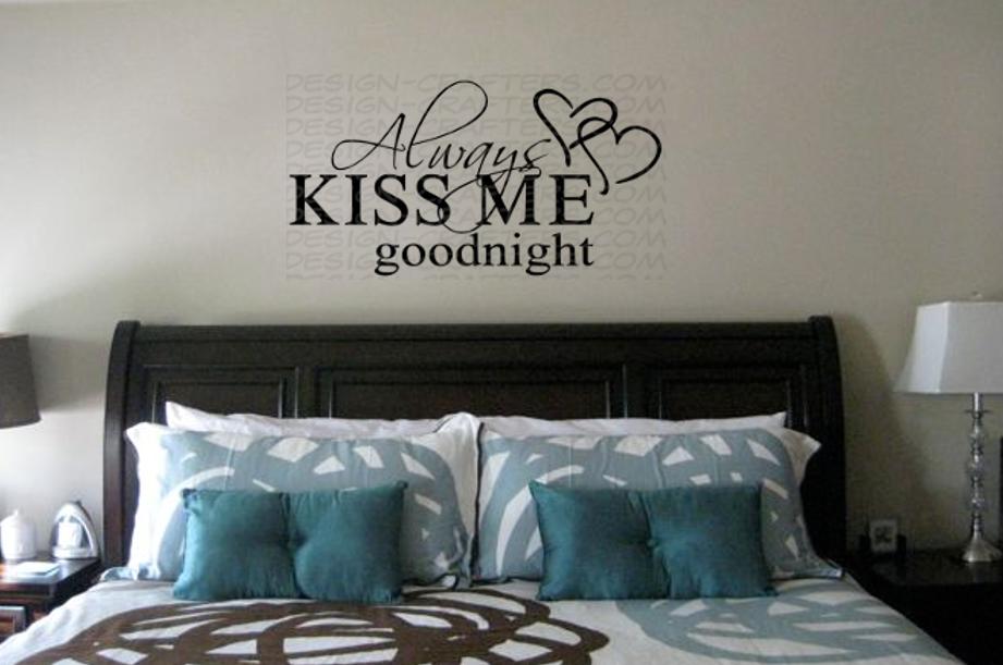 Always Kiss Me Goodnight 11.5x6 Removable Vinyl Wall Art Dec